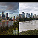 Brisbane before and during flooding