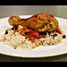 Broiled Chicken Leg on Rice Pilaf